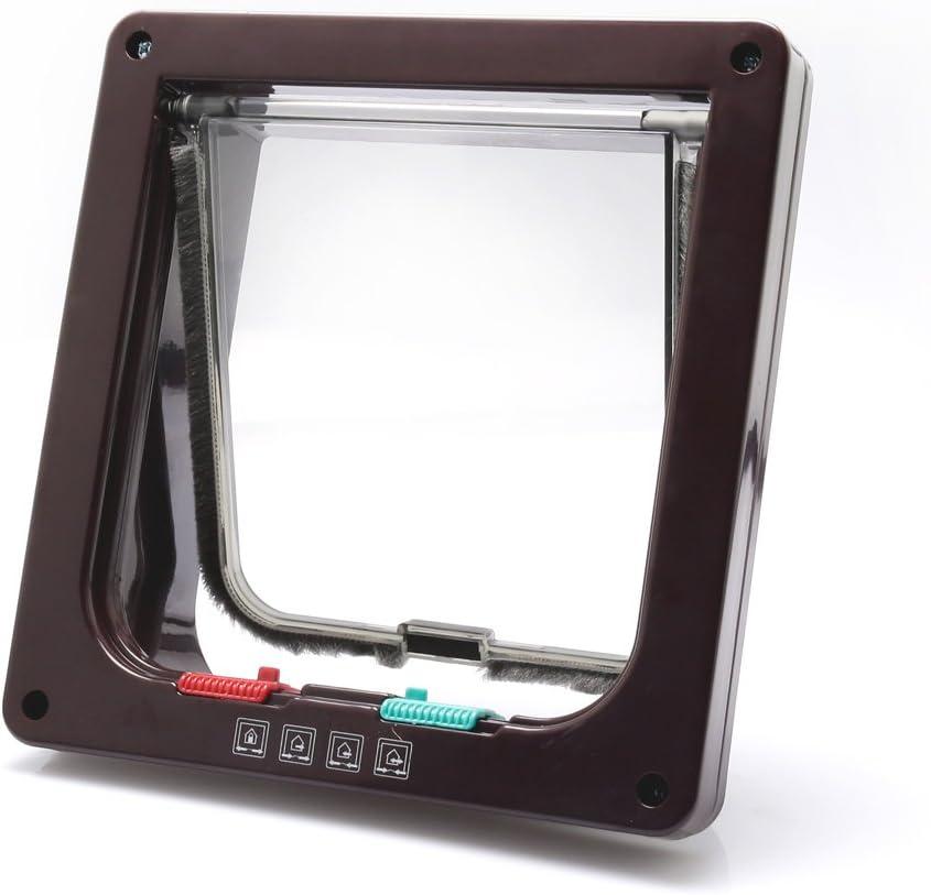 OIZEN Puerta Magnetica 19x20x5.5cm 4-Modo Puerta Bloqueable de Aleta para Gato Perrito Mascota Seguridad