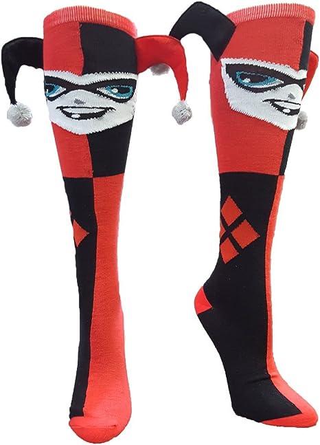 Amazon.com: Harley Quinn Jester rodilla alta calcetines ...