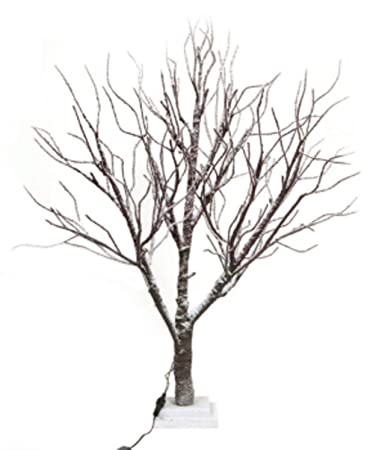 3 Led Lighted Frosted Brown Twig Tree Table Top Decoration Warm Clear Lights