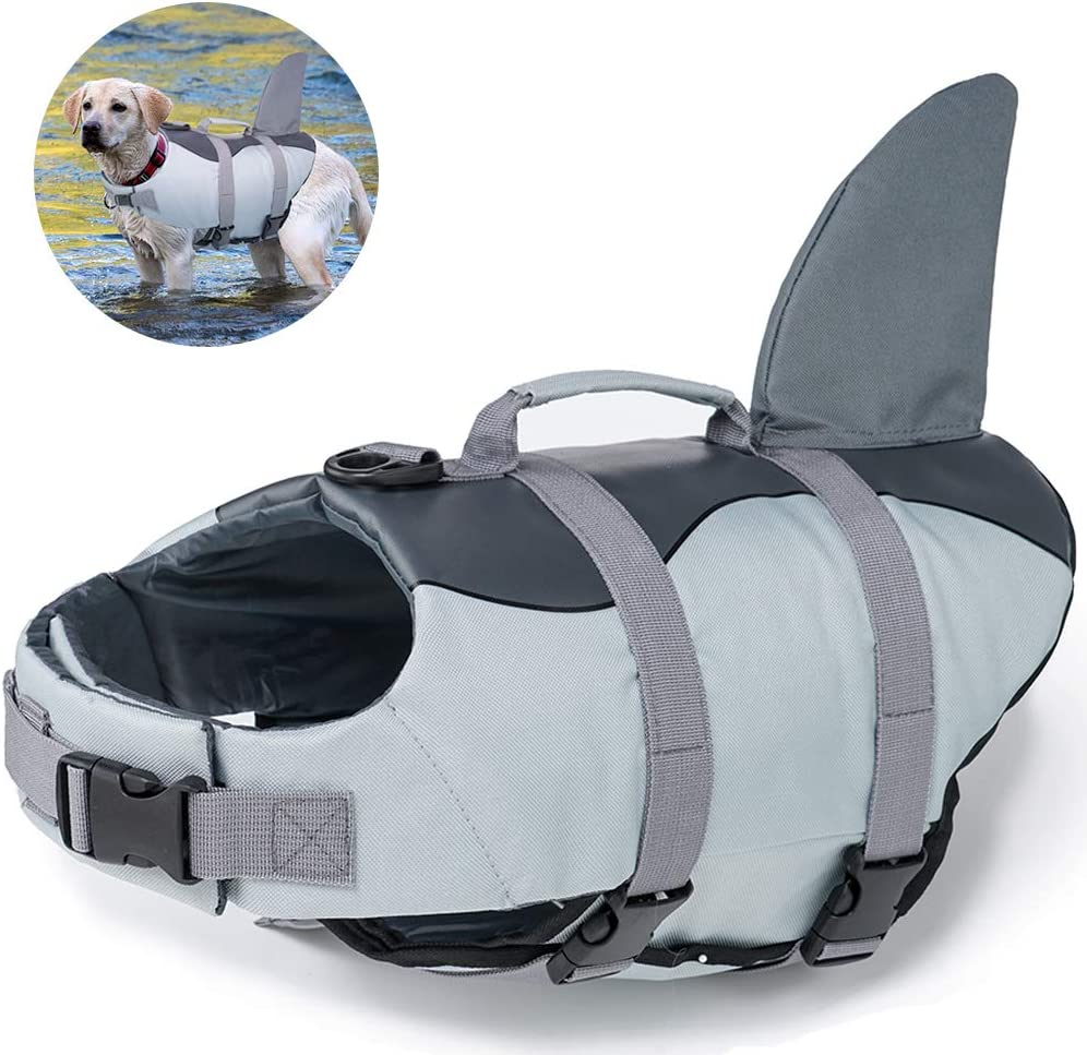 EMUST Dog Life Jacket Shark, Ripstop Dog Lifesaver Vests with Rescue Handle for Small Medium and Large Dogs, Pet Safety Swimsuit Preserver for Swimming Pool Beach Boating
