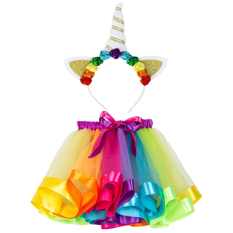 Little Girls Rainbow Unicorn Tutu Skirts Unicorn Horn Headband Baby Birthday Party Tulle Tutu (Rainbow1,L)