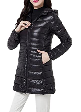 Amazon.com: Youtobin Women's Winter Ultra-thin Down Jacket Long ...