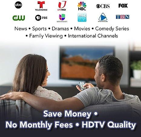 Antena de TV para exteriores, ANTOP HDTV, panel plano amplificado, antena HDTV Big Boy 80 millas recepción multidireccional con filtro 4G LTE y Smartpass amplificado (cable coaxial de 40 pies incluido): Amazon.es: