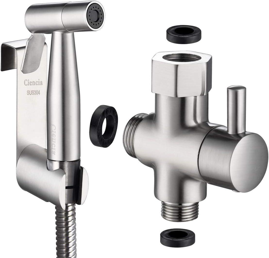 Tecmolog WS024F8 - Kit de ducha de acero inoxidable con válvula de inodoro de 3 vías 3/8