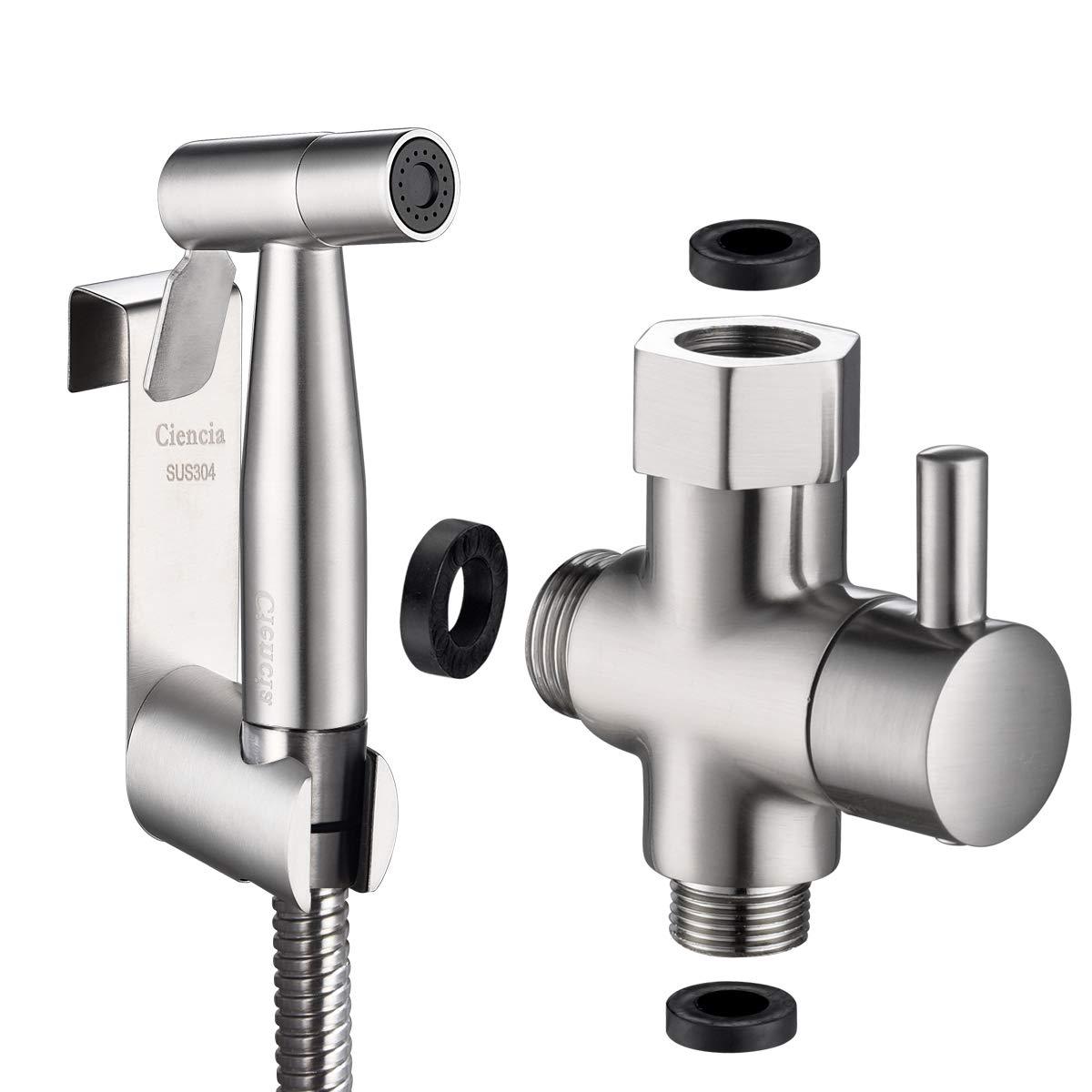 Kit de ducha de acero inoxidable con v/álvula de inodoro de 3 v/ías 3//8-12//17 y manguera de ducha de 1,2 m ideal para inodoro suspendido Tecmolog WS024F8