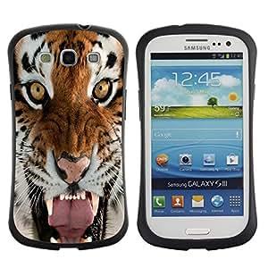 "Pulsar iFace Series Tpu silicona Carcasa Funda Case para SAMSUNG Galaxy S3 III / i9300 / i747 , Tigre Rugido Bostezo intenso Naturaleza Animal"""