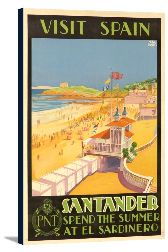 Visitスペイン – Santanderヴィンテージポスター(アーティスト: Baldrich、Javier ) C。1930 23 3/8 x 36 Gallery Canvas LANT-3P-SC-65041-24x36 23 3/8 x 36 Gallery Canvas  B0184AZTQ2