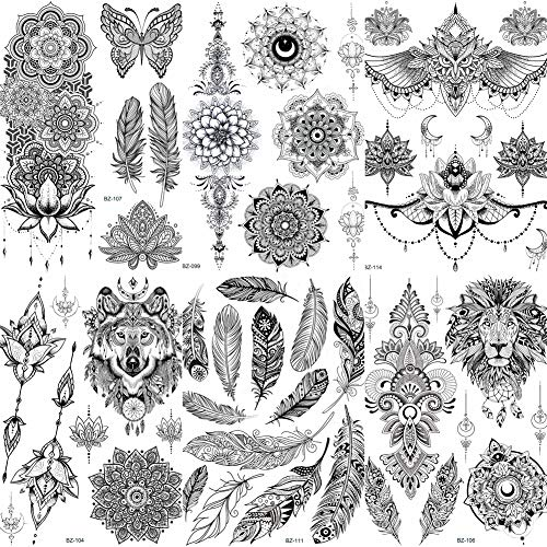 COKTAK 6 Pieces/Lot Unique Black Henna Temporary Tattoo Stickers For Adults Women Girls Feather Mandala Flower Body Art Large Big Arm Tattoos Sheet Lace Indian Mehndi Sexy Wedding Tatoos OWL