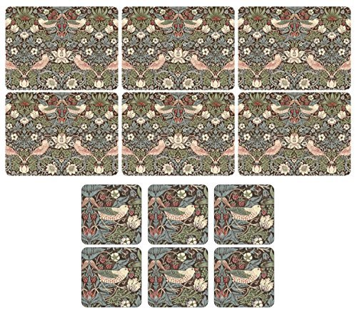 Portmeirion Strawberry (Pimpernel - Wm Morris Strawberry Thief Brown, 6 Placemats + 6 Coasters by Pimpernel-Portmeirion)