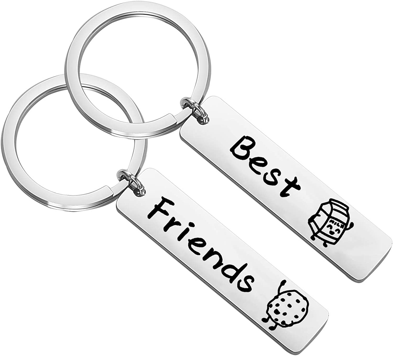 LQRI Bestie Keychain Cute Food Milk and Cookies Best Friends Matching Keychain BFF Friendship Jewelry Soul Sister Gift