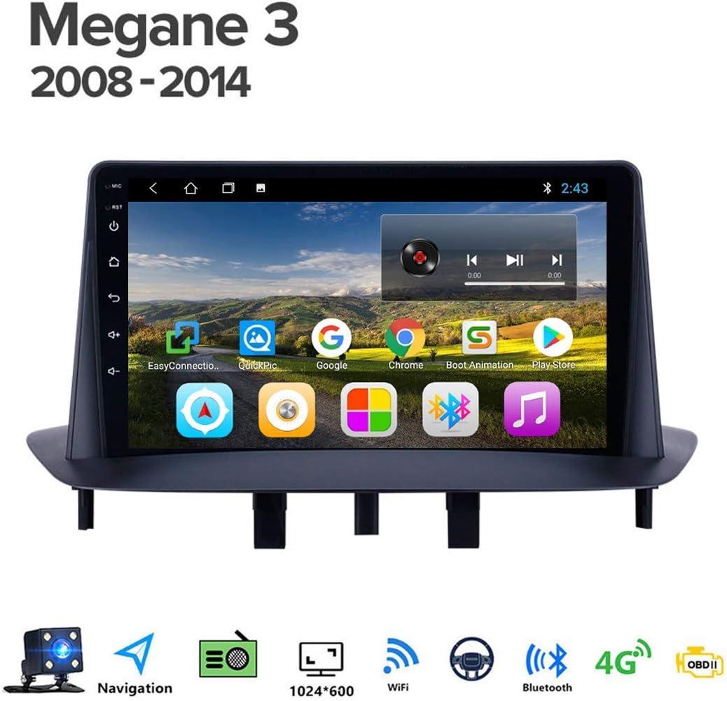 Android 8.1 Quad Core GPS Navegador Coche para Renault Megane 3 2008-2014 Conexi/ón a Internet WiFi//BT Soporte DVR USB//Llamadas Manos Libres FM Am Radio del Coche