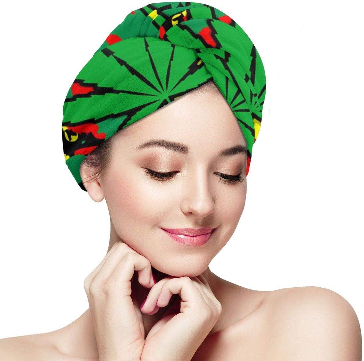 RTBB - Toallas de secado rápido para cabello seco y antiencrespamiento, diseño de hojas de marihuana, color verde