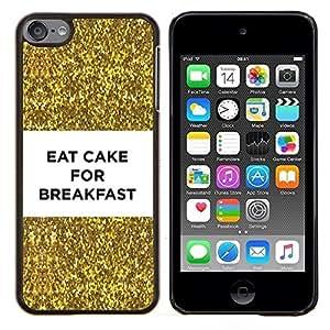 Caucho caso de Shell duro de la cubierta de accesorios de protección BY RAYDREAMMM - Apple iPod Touch 6 6th Touch6 - pastel de desayuno divertido bling del oro