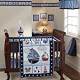 UK 3 Piece Blue White Red Boys Baby Boats Crib Bedding Set, Newborn Nautical Themed Nursery Bed Set Infant Child Sailboat Anchors Sailor Sea Navy Ocean Waves Blanket Quilt Patchwork, Polyester Cotton