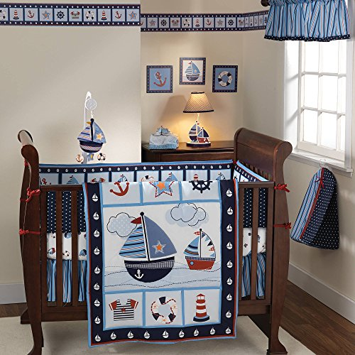 3 Piece Blue White Red Boys Baby Boats Crib Bedding Set, Newborn Nautical Themed Nursery Bed Set Infant Child Sailboat Anchors Sailor Sea Navy Ocean Waves Blanket Quilt Patchwork, Polyester Cotton
