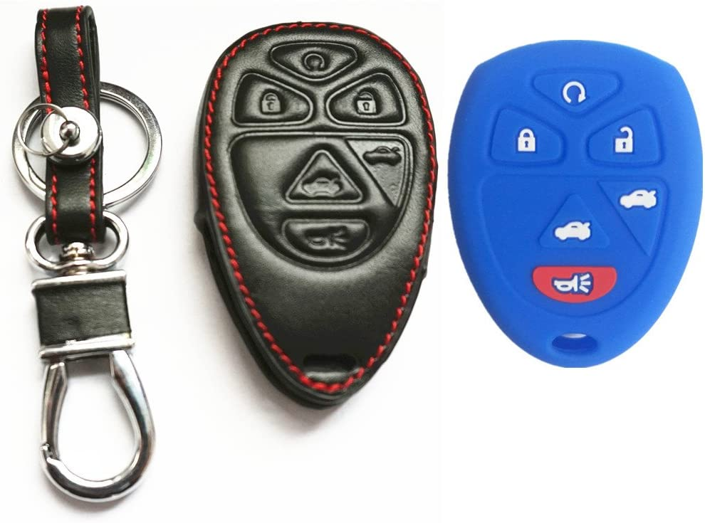 3Pcs New Black Blue Red Protection Silicone Rubber Cover Skin 6 Buttons Keyless Remote Smart Key Case Cover Fob Bag Skin For GMC Yukon XL Chevrolet Suburban Tahoe Traverse Cadillac Escalade OUC60221