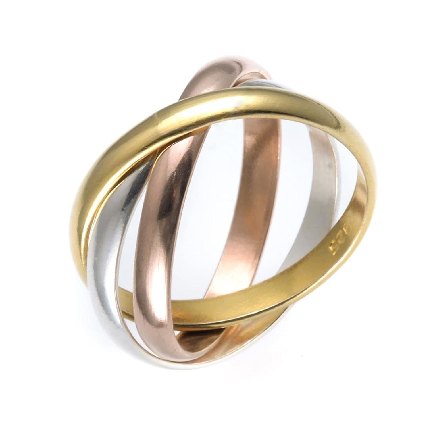 Silverly Women's Gold Plated .925 Sterling Silver Rose Yellow Russian Triple Ring ipb55N