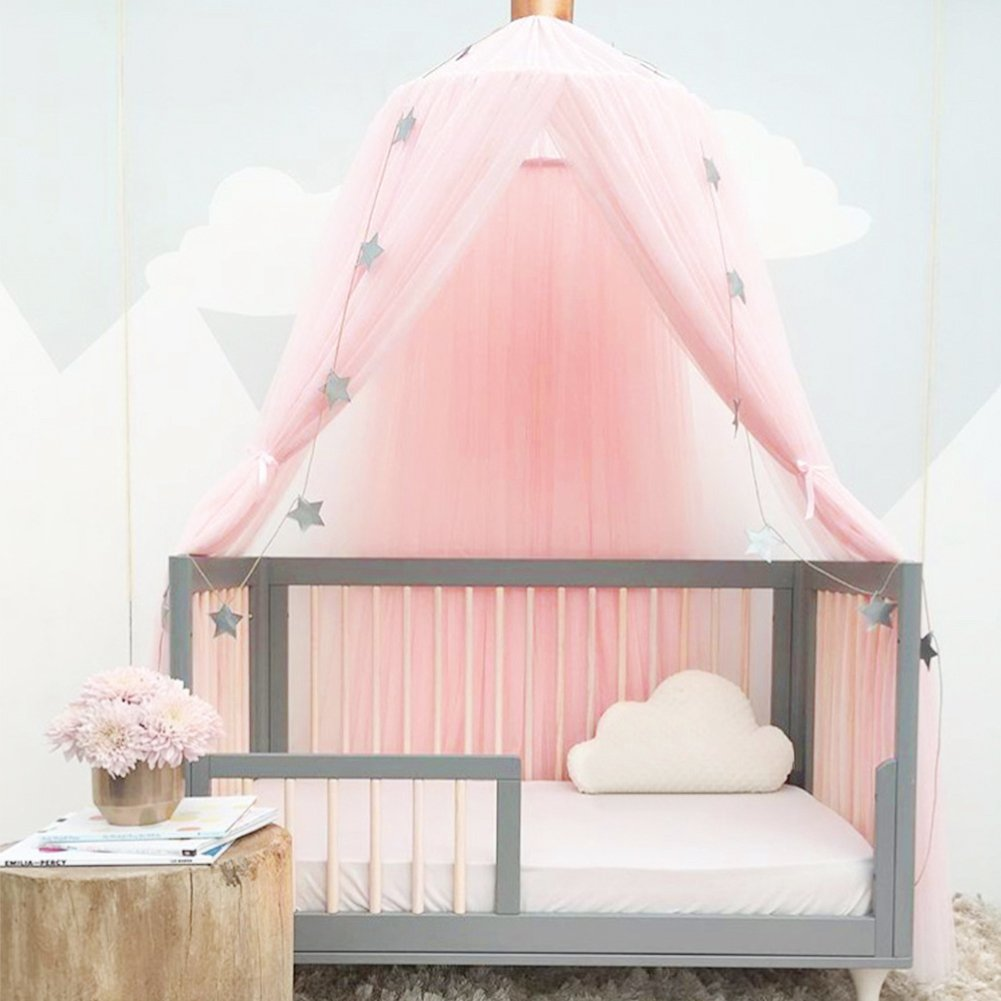 Luerme Dome Fantasy Champion Netting Curtains Play Tent Bed Canopy Mosquito Net Bedding with Round Lace Baby Boys Girls Games House for Kids' Playing Reading (Pink) by Luerme (Image #4)