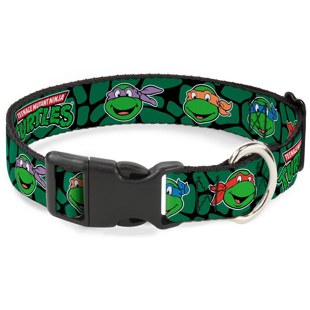 Buckle-Down Classic Tmnt Turtle Faces Black/Green Turtle Shell Plastic Clip Collar
