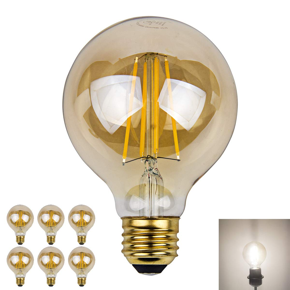 Dimmable Edison Led Globe Light Bulb G25 Daylight Nature