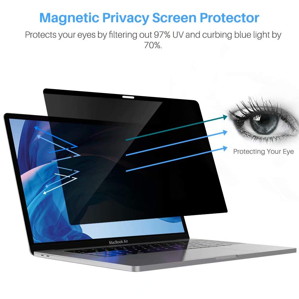 L K Magnetic Privacy Screen Protector for MacBook Air 13.3 Inch 2018 Release (Model : A1932), [Easy Installation On/Off] Reversible Magnetic Privacy Anti-Spay Anti-Glare Laptop Screen Filter by L K (Image #4)