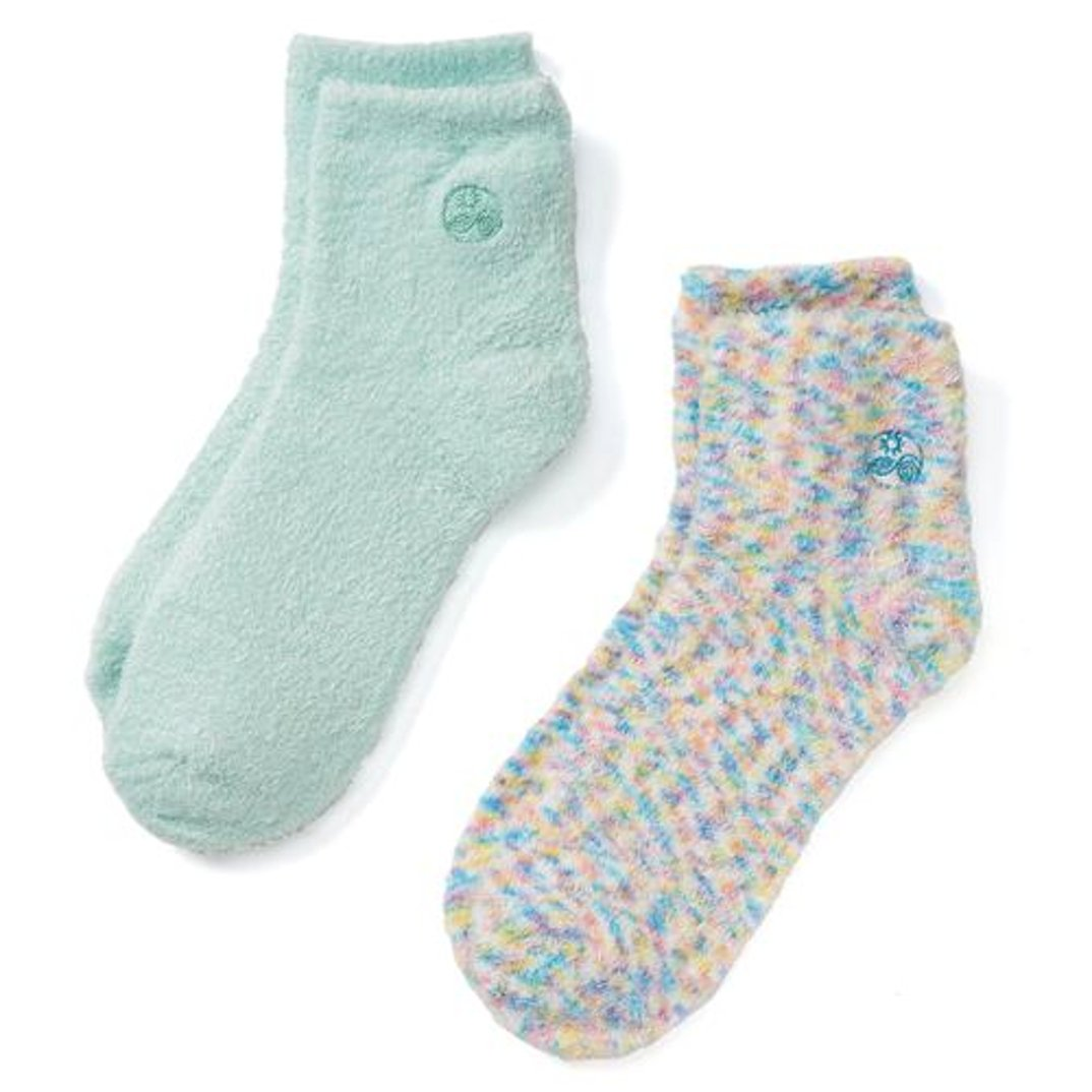 Earth Therapeutics Aloe Socks, 2 Pair Per Package (1 Pair Multi-colored, One Pair Aqua)