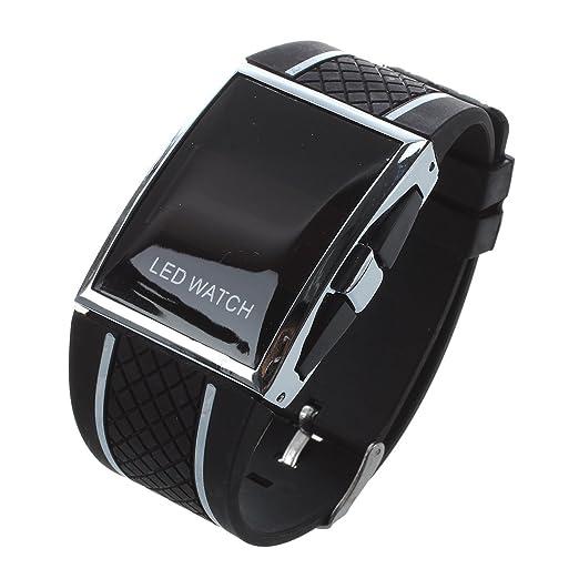 SODIAL(R) LED Reloj Lujo Moda Hombre Mujer Relo de pulsera correa deportivo digital para senora vestido Reloje de pulsera reloj-Negra blanca linea: ...
