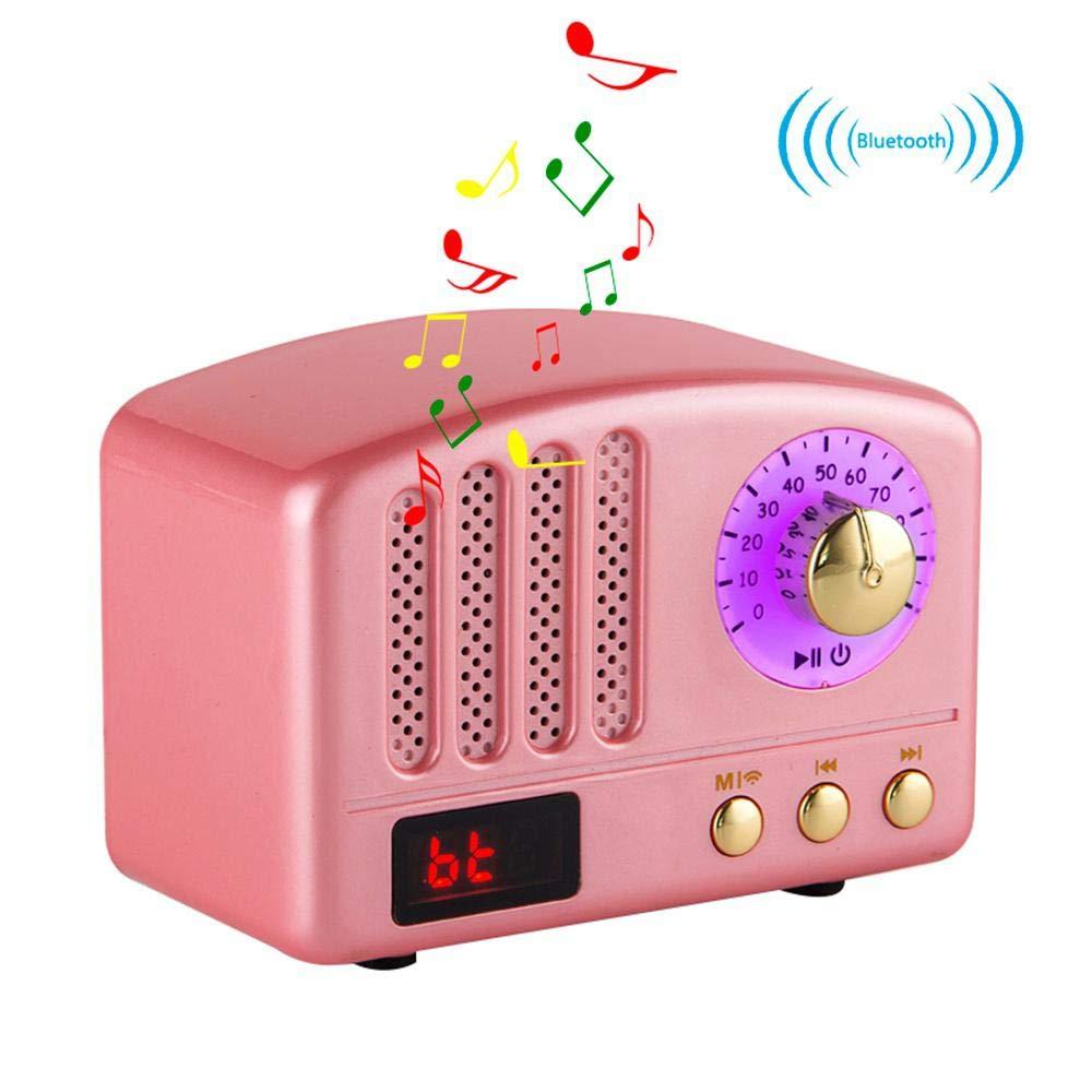 レトロBluetoothスピーカー HiFiステレオBluetooth 4.2デスクトップFMラジオ スーパーバス サブウーファーサポート microSDカード USB入力 iPhone iPad サムスン タブレットなどに対応 ピンク 6402781344481 B07JPYCNMW ピンク