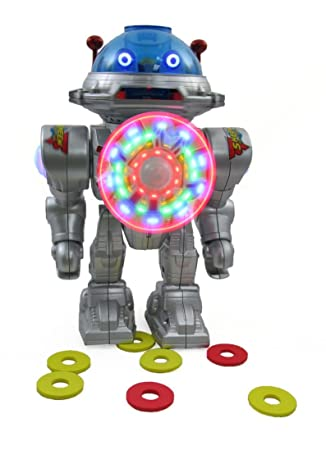 Launches Frisbees with Sounds And Lights NMIT IQ Doctor The Radio Controlled Robot Turns Dances Walks Glides