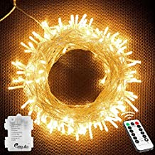 Megulla 120LED Battery Operated String Lights with Remote and Timer on 41ft Clear Wire for Decorations, Bedroom, Wedding, Christmas, Parties, Patio(Dimmable, IP65 Waterproof, Warm White)