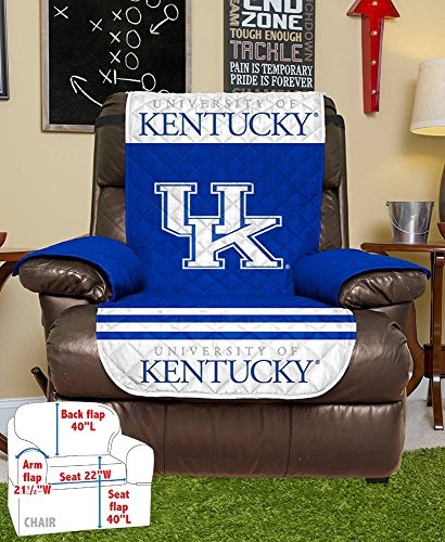 NCAA Kentucky Wildcats Recliner Reversible Furniture Protector with Elastic Straps, 80 X 65 Inches -