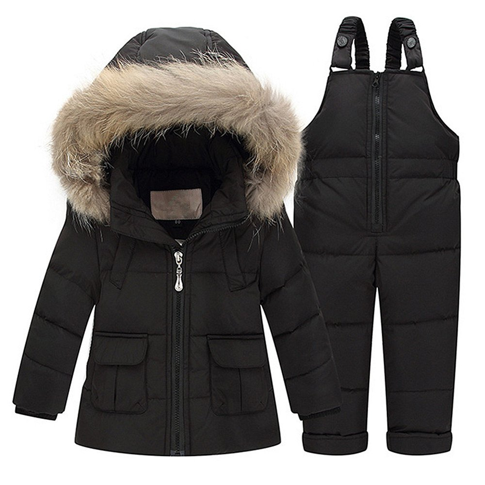 QJH Baby Boys Girls'Snowsuit Winter Puffer Down Coat Two-piece Set with Hooded Fur Trim