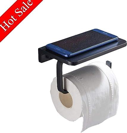 Porte Papier Toilette pour fixer au mur, Derouleur Papier WC Aluminium  Antirouille avec Tablette de Rangement pour Téléphone Mobile,Noir Mat
