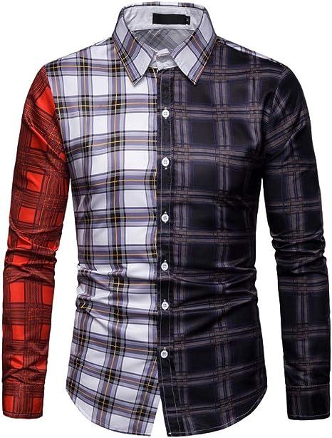 CHENS Camisa/Casual/Unisex/M Camisas de Tela Escocesa de los Hombres Top Camisa Casual Vestido Patchwork Streetwear Ropa para Hombre Camisa de Manga Larga Hombres Tops Hombre: Amazon.es: Deportes y aire libre