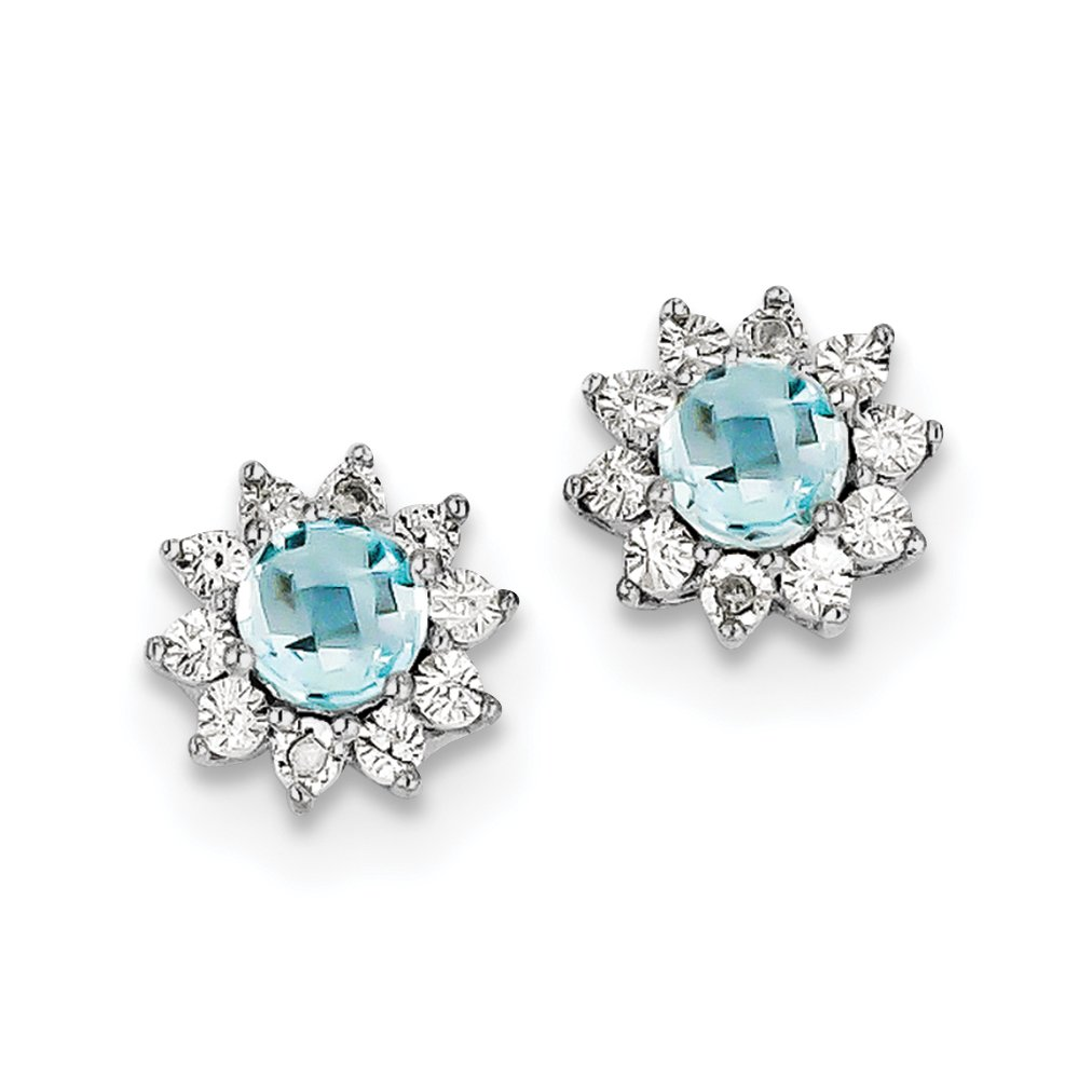 ICE CARATS 925 Sterling Silver Diamond Blue Topaz Post Stud Ball Button Earrings Fine Jewelry Gift Set For Women Heart