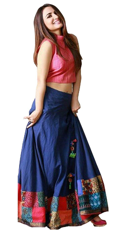 057d1615f1 Look N Buy Mournful Blue Silk Semi Stitched Lehenga Choli: Amazon.in:  Clothing & Accessories