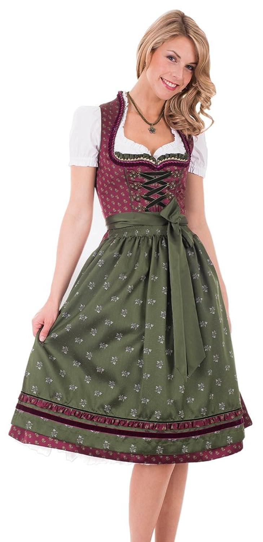 Krüger Madl Dirndl Vino - Bordeaux 70cm - Damen Trachten Kleid