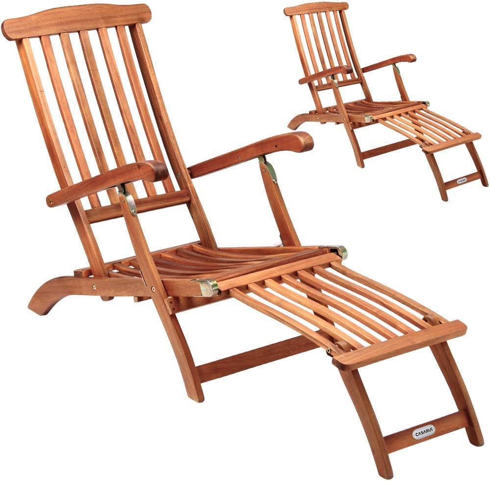 Deuba 2x Tumbonas Queen Mary de madera de acacia Reposapies ajustable Reposabrazos plegable Jardín Terraza playa
