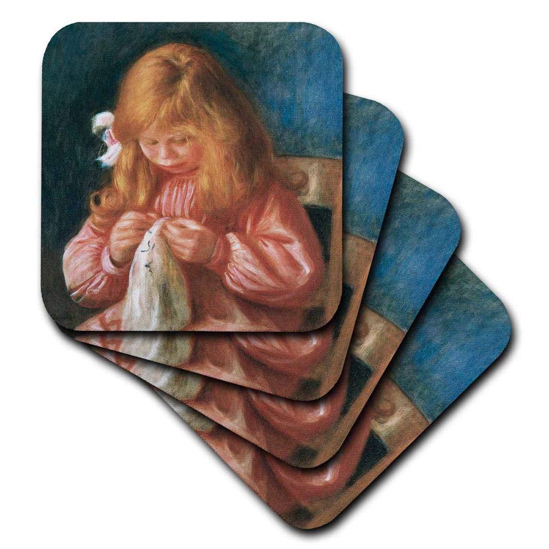 1900 by Pierre-Auguste Renoir-Soft Coasters Set of 4 3dRose cst/_169721/_1 Jean Renoir Sewing