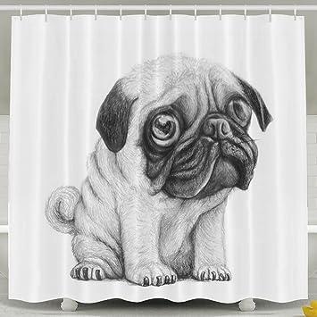 BESTSC Cortinas de ducha blancas – bonitas cortinas de baño para perro con diseño de perro