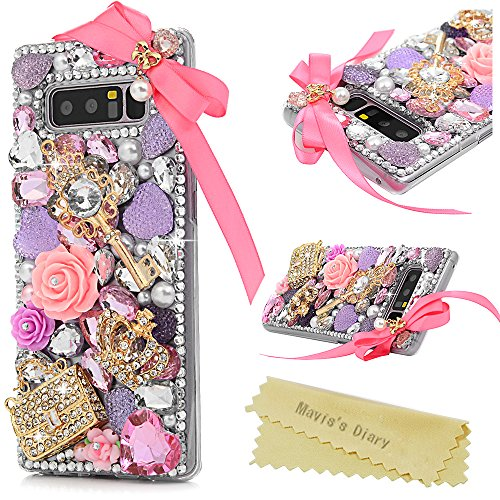 Note 8 Case, Mavis's Diary Clear Hard PC Plastic Case 3D Handmade Full Edge Protective Luxury Shiny Bling Glitter Diamonds Crown Handbag Pink Floral Golden Key Skin Cover for Samsung ()