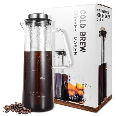 Cold Brew cafetera para Cafe/té helado 1 L/34 oz con cierre hermético, ...