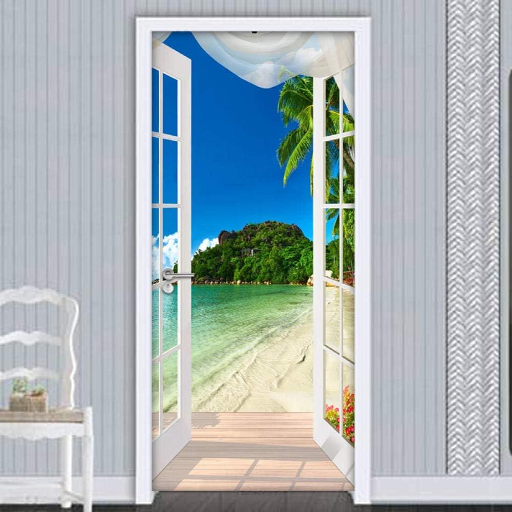 Rgdrh T/ürtapete Selbstklebend T/ürposter 3D Aufkleber Fenster Strand Meer Fototapete PVC Selbstklebende T/ür Aufkleber Wohnzimmer Schlafzimmer Tapeten Wohnkultur 77X200Cm