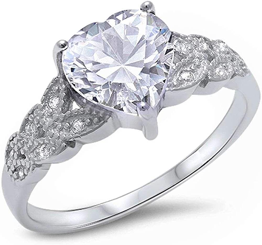 Princess Kylie Clear Cubic Zirconia Heart Designer Band Ring Sterling Silver