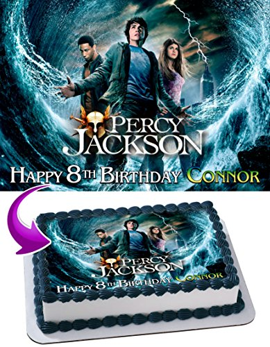 Percy Jackson and the Olympians Edible Image Cake Topper Personalized Birthday 1/4 Sheet Decoration Custom Party Birthday Sugar Frosting Transfer Fondant Image ~ Best Quality Edible Image for cake