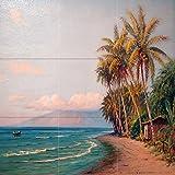 Seascape beach Hawaii boat sea palm by D. Howard Hitchcock Tile Mural Kitchen Bathroom Wall Backsplash Behind Stove Range Sink Splashback 3x3 8'' Ceramic, Matte