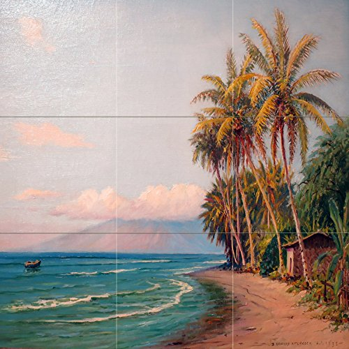Seascape beach Hawaii boat sea palm by D. Howard Hitchcock Tile Mural Kitchen Bathroom Wall Backsplash Behind Stove Range Sink Splashback 3x3 8'' Ceramic, Matte by FlekmanArt