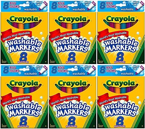 Rotuladores Crayola Ultra-Clean, línea ancha, negrita, 8 unidades (paquete de 6)