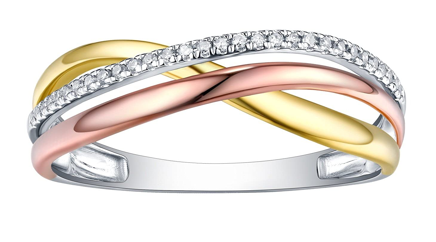 Prism Jewel Natural G-H//I1 Round Diamond Criss Cross Ring 10k Tri Color Gold