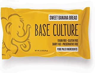 product image for Paleo Bread, Sweet Banana Bead, Snack Size, 100% Gluten Free Bread and Paleo Certified, 4g Protein Per Serving, Crafted by Base Culture (12 Count)